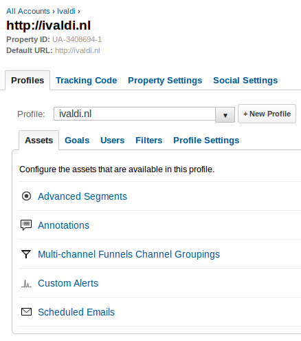 Google Analytics profile tab