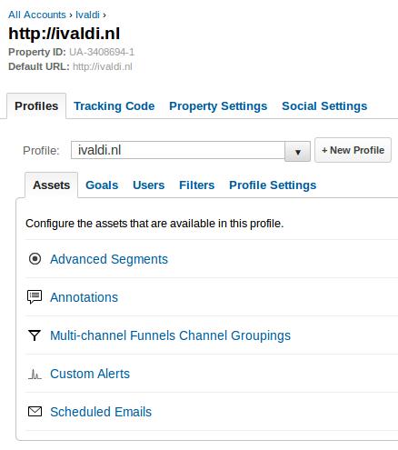 Google Analytics profile tab